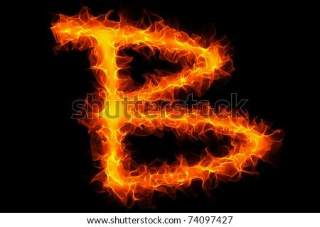 Fire letter b graffiti - stock photo