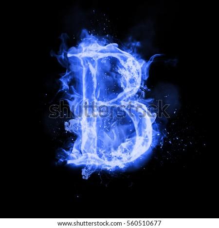 fire letter b burning blue flame stock illustration 560510677