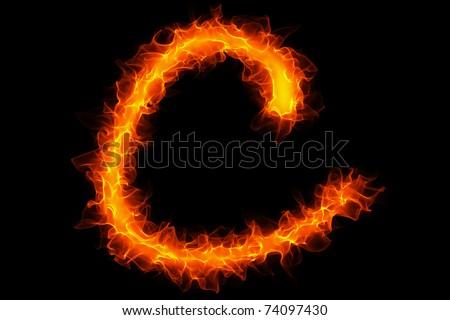Fire letter c graffiti - stock photo