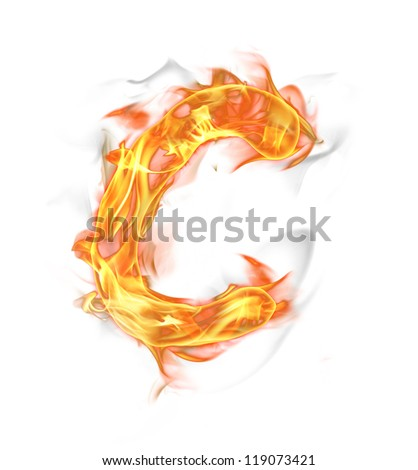 "Fire letter ""C"" isolated on white background"