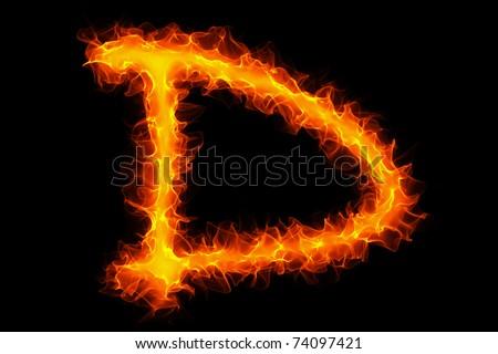 Fire letter D graffiti - stock photo