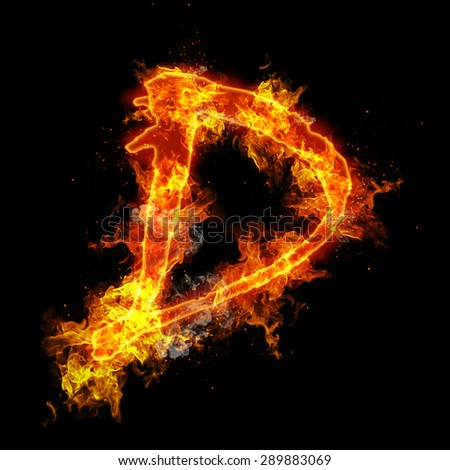 Fire letter D isolated on black background