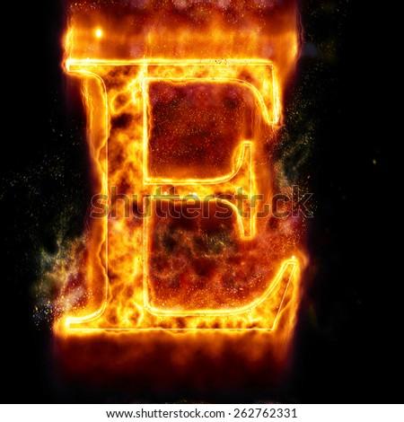 Fire Letter E - stock photo