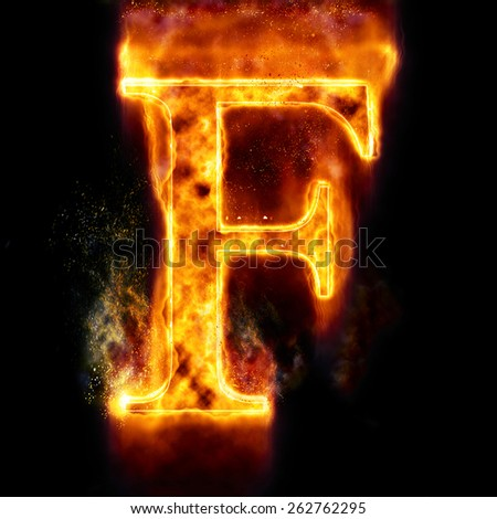 Fire Letter F - stock photo