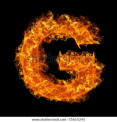 Fire letter G on a black background - stock photo