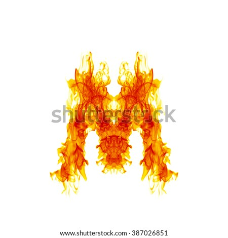 Fire letter M. - stock photo