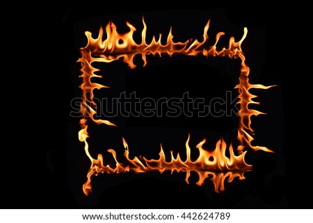 "fire letter ""O"" on black background"