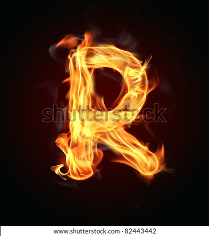 """Fire letter """"R"""" - stock photo"""
