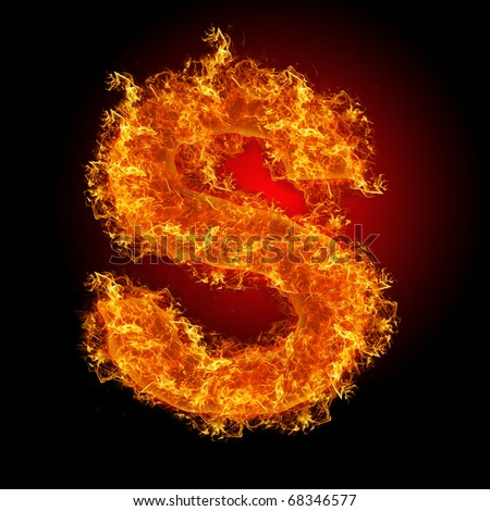 Fire letter S on a black background