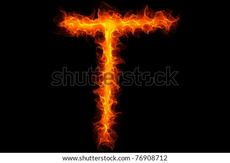 Fire letter t graffiti - stock photo