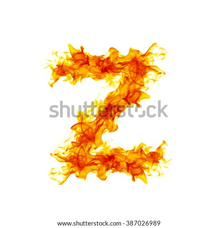 Fire letter Z. - stock photo