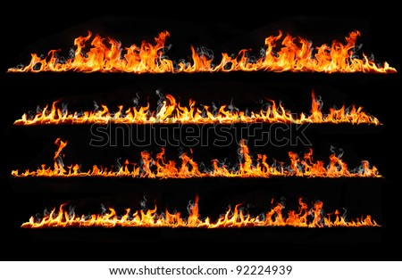 fire lines isolated on black - stock photo
