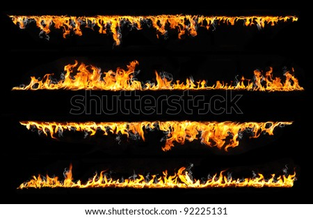 fire lines isolated on black background