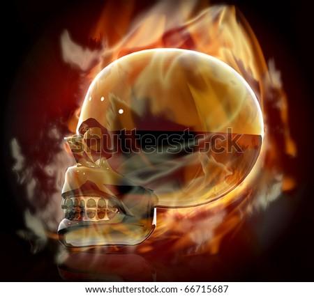 fire metal skull - stock photo