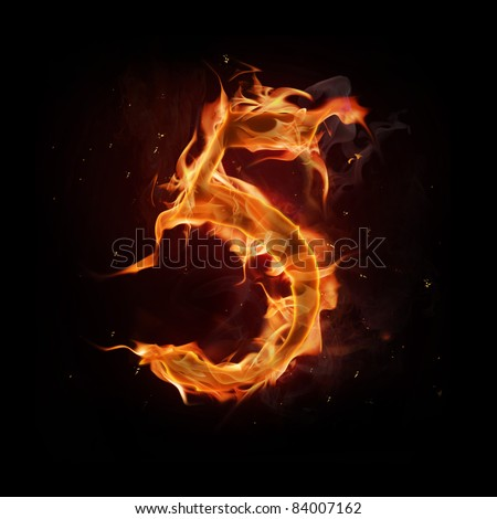Fire number five - stock photo