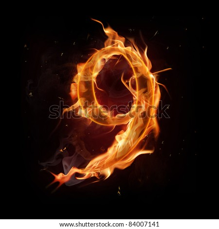 Fire number nine - stock photo