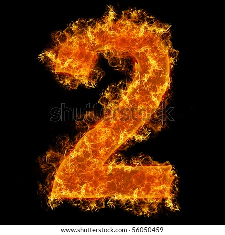 Fire number 2 on a black background - stock photo