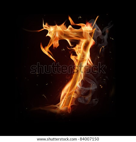 Fire number seven - stock photo