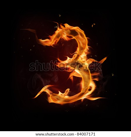 Fire number three - stock photo