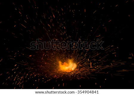 fire of fire cracker explosion on black background