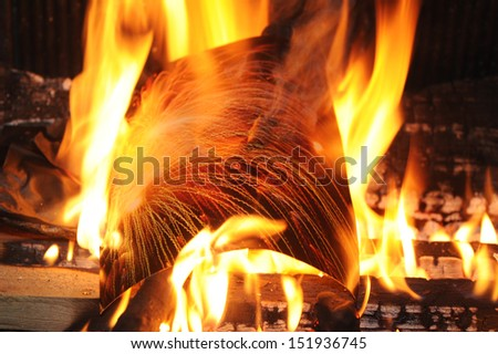 Fire of wood on a fireplace