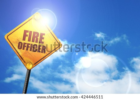 fire officer, 3D rendering, a yellow road sign - stock photo