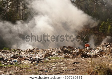 fire on a huge garbage dump