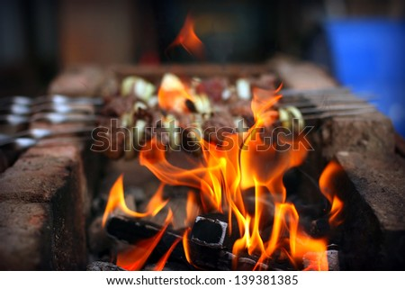 Fire on background of the appetizing hot shish kebab
