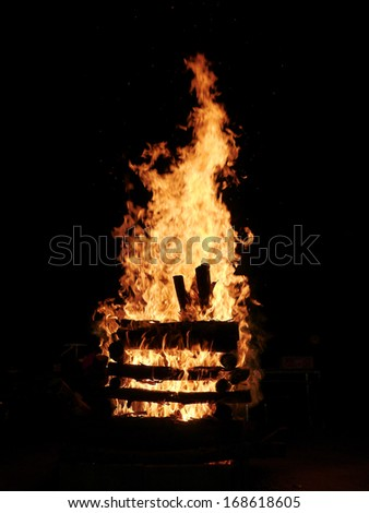 fire on black background - stock photo