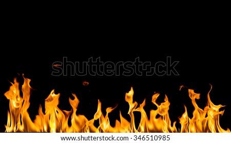 fire on black background - stock photo