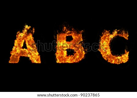 Fire on letter A B C - stock photo