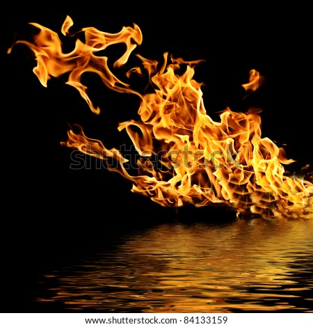 Fire on the water. Isolation on a black background. - stock photo