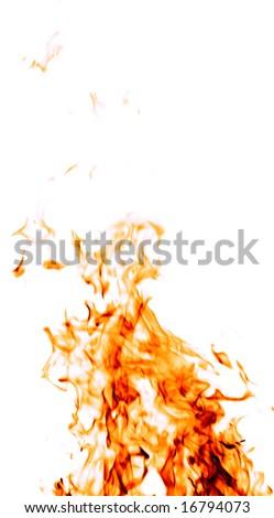 Fire on white - stock photo