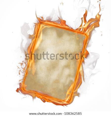 Fire paper over white - stock photo