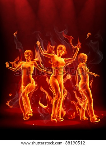 Fire party - stock photo