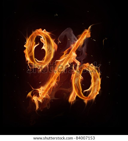 Fire percent mark - stock photo