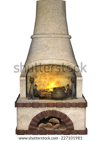 fire place - stock photo