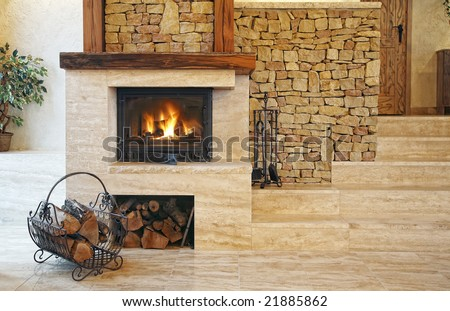 fire place in living room - stock photo