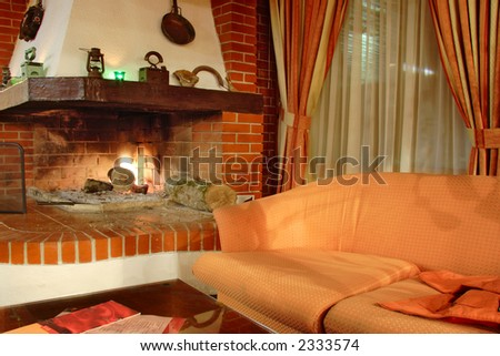 Fire place interior - stock photo