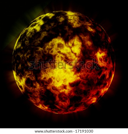 Fire planet. - stock photo