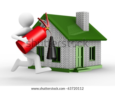 Fire-prevention protection of house. Isolated 3D image - stock photo