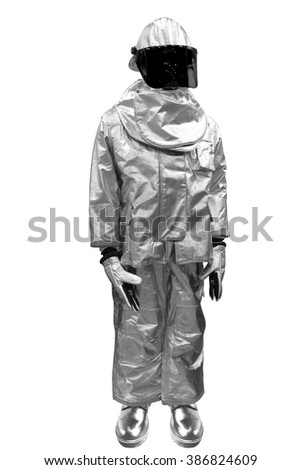 Fire proximity suit - protect a firefighter from high temperatures, especially near fires of extreme temperature or Metallurgy suit isolated on white background with clipping path