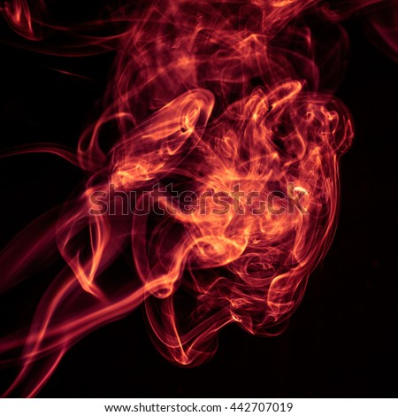 Fire Red abstract smoke design on black background