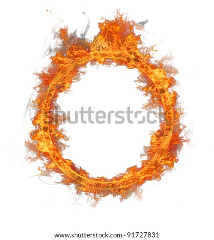 Fire ring isolated on white background - stock photo