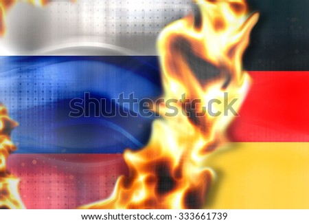 Fire Russia germany flags background - stock photo
