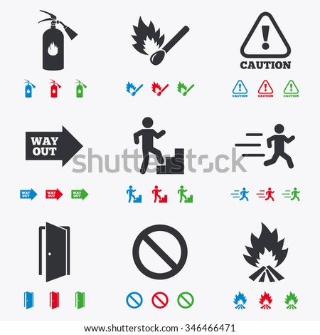 Fire safety, emergency icons. Fire extinguisher, exit and attention signs. Caution, water drop and way out symbols. Flat black, red, blue and green icons.