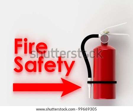 Fire safety on white background. - stock photo