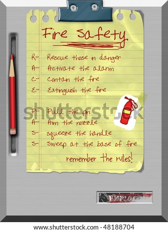 Fire Safety- R.A.C.E. and P.A.S.S. rules - stock photo