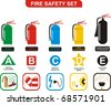 Fire Safety Set Different Types of Extinguishers (Water, Foam, Dry Powder, Halon, Carbon Dioxide - Symbols of  Ordinary Combustibles & Metals, Flammable Liquids & Gases, Electrical Appliances - stock photo
