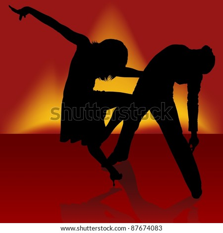 Fire Samba - Dancing silhouettes - stock photo